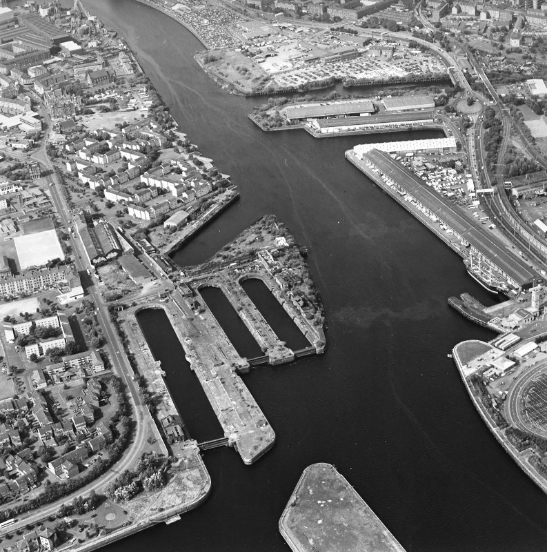 Oblique aerial view of Govan Graving Docks.