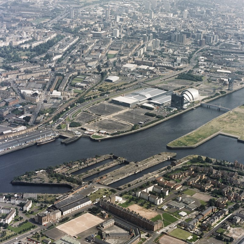 Oblique aerial view of the SECC, with Govan Graving Docks in the foreground.