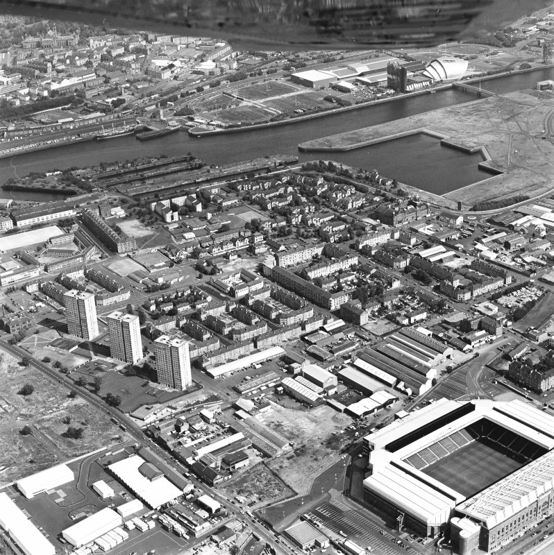 Oblique aerial view of Govan and Ibrox Stadium.