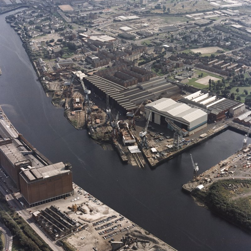 Govan, oblique aerial view of Kvaerner Govan Yard.
