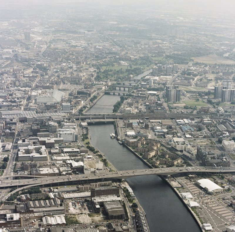 Glasgow, Kingston Bridge, oblique aerial view.