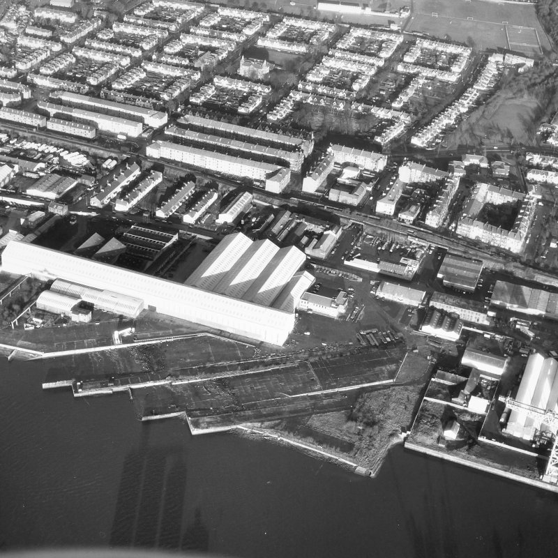 Glasgow, Former shipyard. General oblique aerial view.