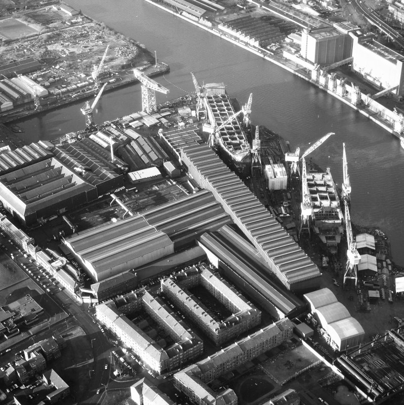 Glasgow, 1048 Govan Road, Fairfield Engine Works, Industial Marine Construction Oblique aerial view.