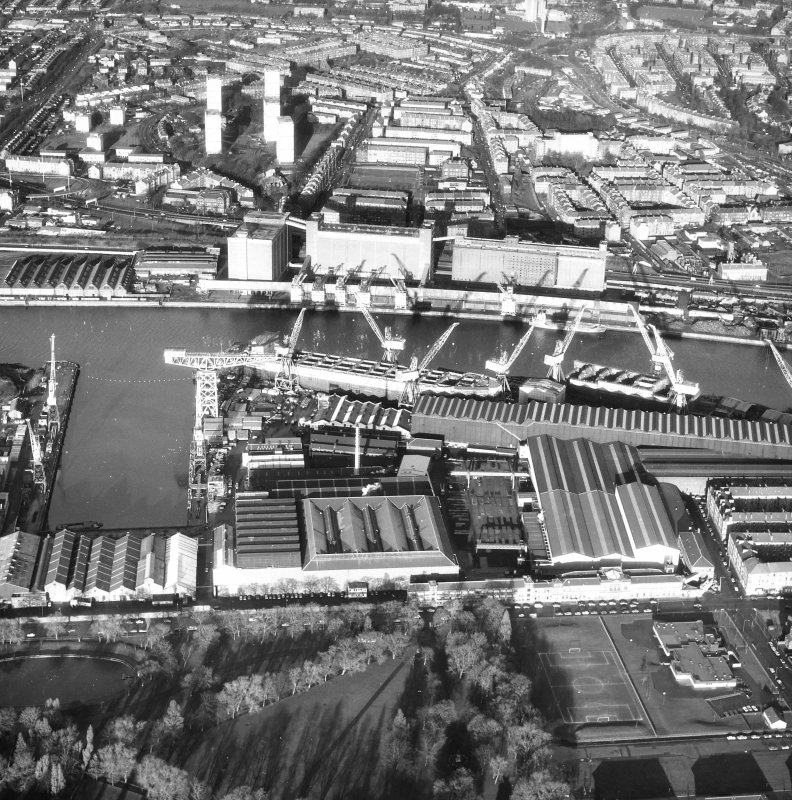 Glasgow, 1048 Govan Road, Fairfield Engine Works, Industrial Marine Construction Oblique aerial view.