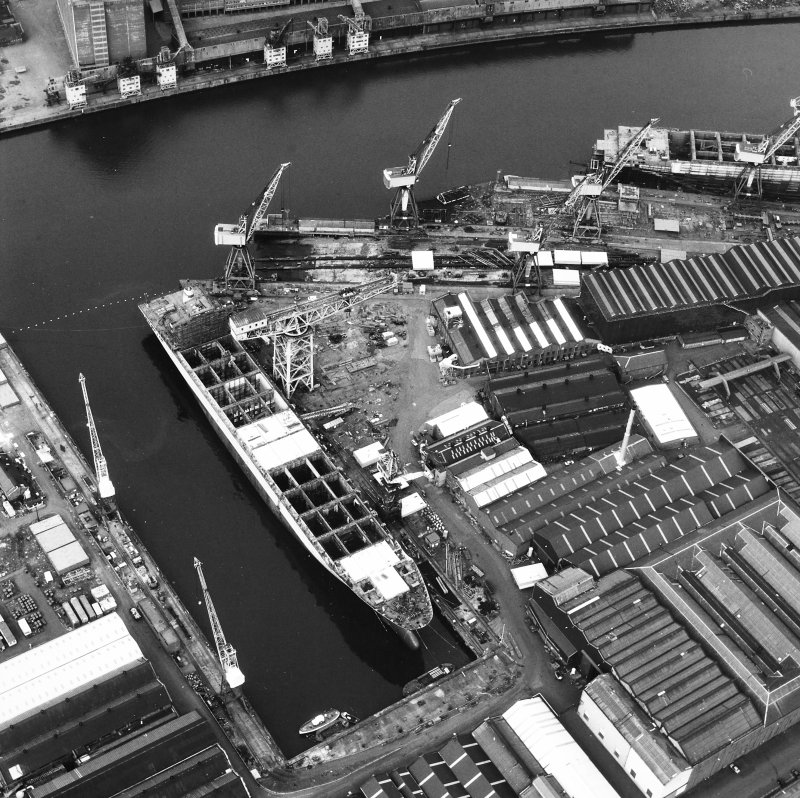Glasgow, Govan, Fairfield Shipbuilding Yard and Engine works Oblique aerial view.