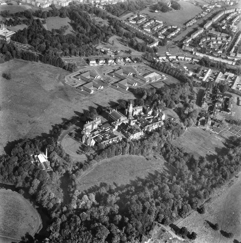 Glasgow, Crookston Road, Leverndale Hospital. Oblique general aerial view.