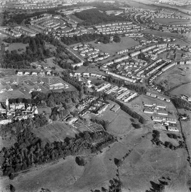 Glasgow, Crookston Road, Leverndale Hospital. Oblique general aerial view from South-West.