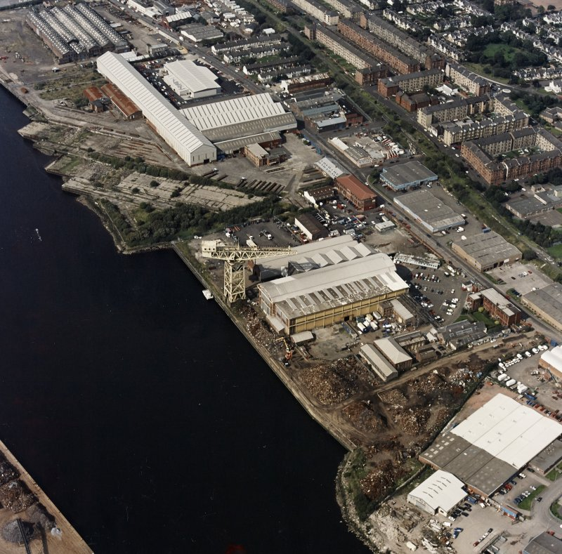 Oblique aerial view of Yarrows shipbuilding yard.