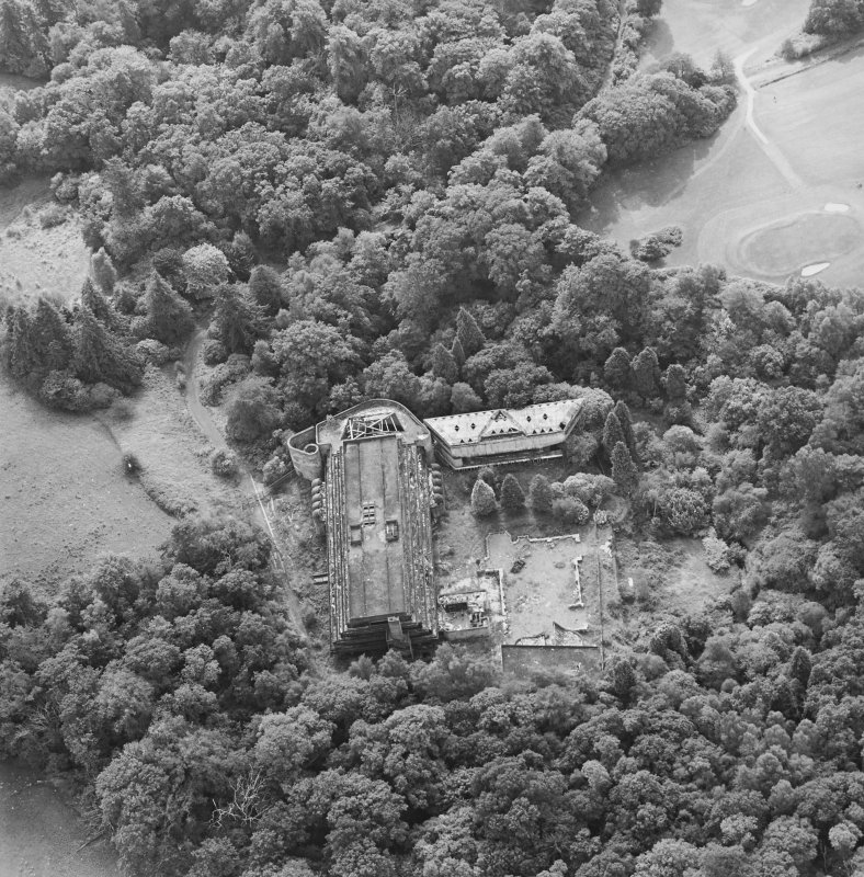 Cardross, oblique aerial view, taken from the NE, of St Peter's College.