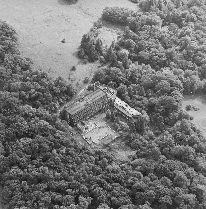 Cardross, oblique aerial view, taken from the NNW, of St Peter's College.