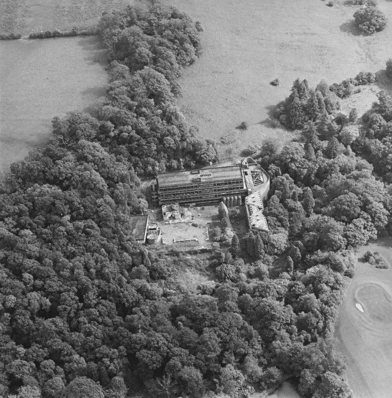 Cardross, oblique aerial view, taken from the NW, of St Peter's College.