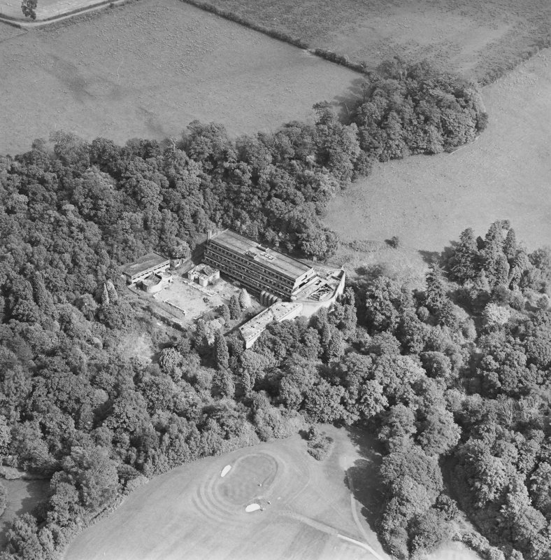 Cardross, oblique aerial view, taken from the W, of St Peter's College.