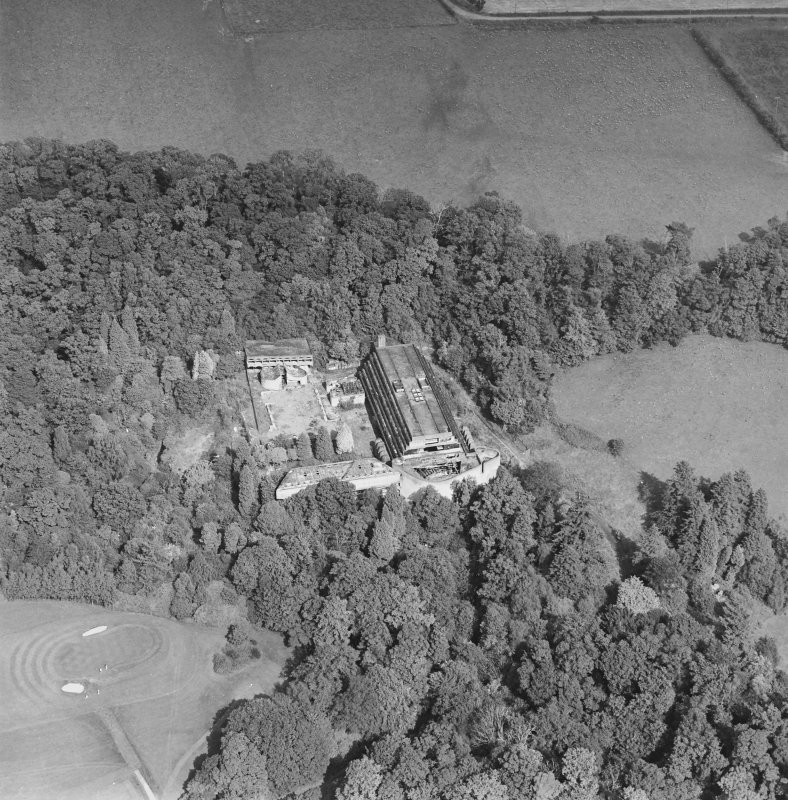 Cardross, oblique aerial view, taken from the SW, of St Peter's College.