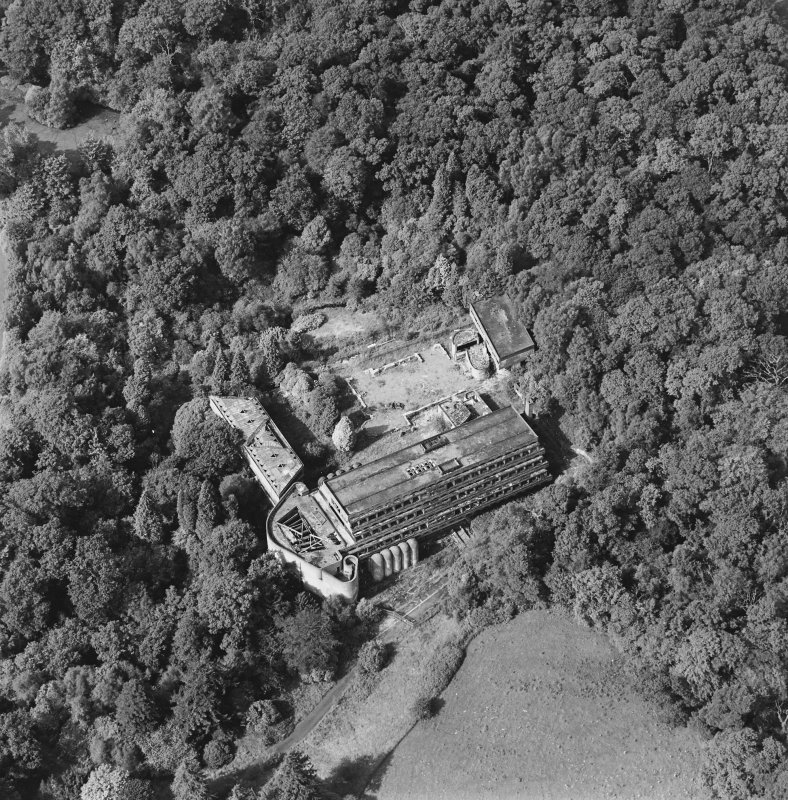 Cardross, oblique aerial view, taken from the SSE, of St Peter's College.