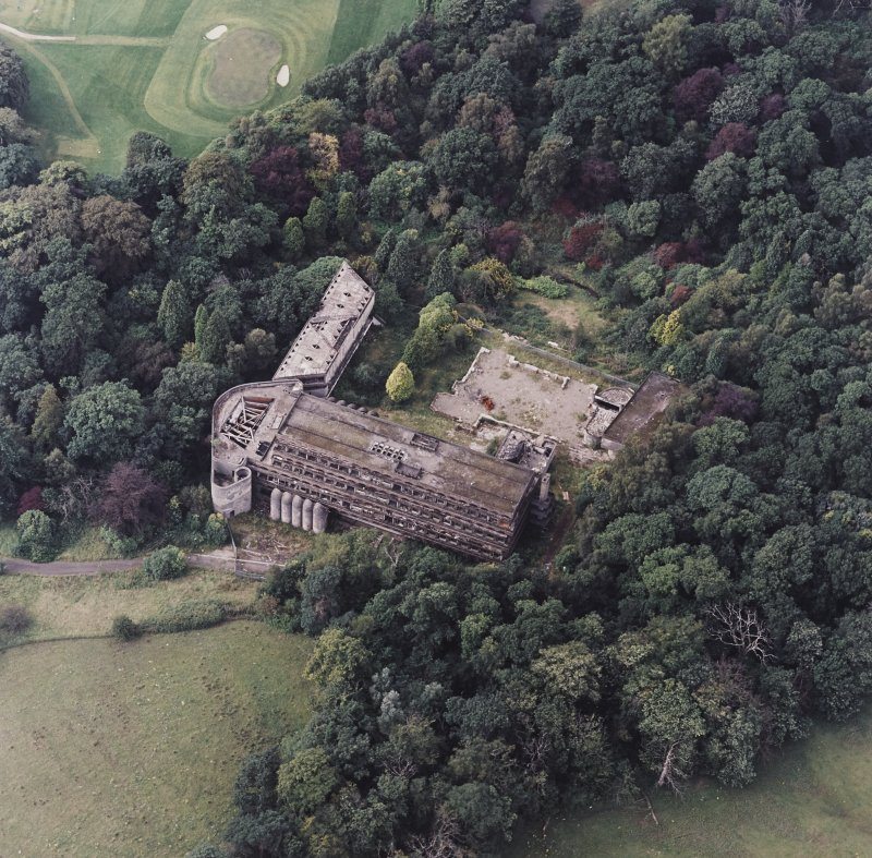Cardross, oblique aerial view, taken from the E, of St Peter's College.