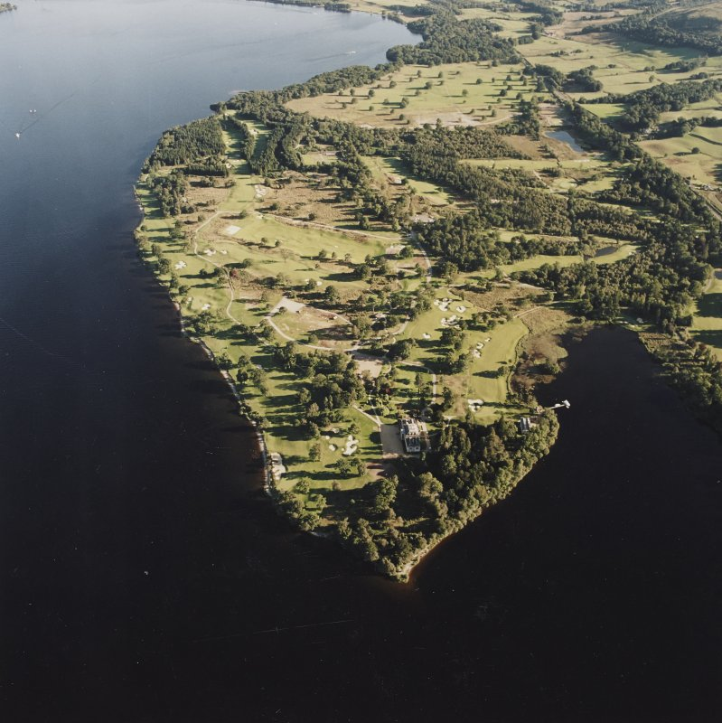 General oblique aerial view of the golf course and Rossdhu House, taken from the N.