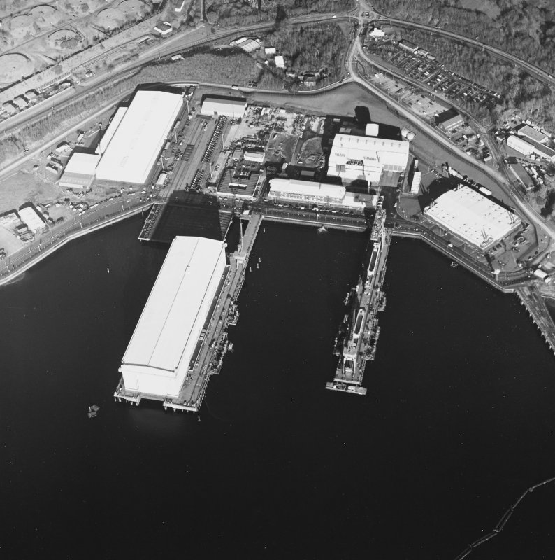 Oblique aerial view centred on the submarine base, taken from the SW.