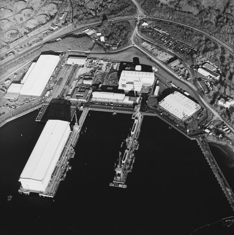 Oblique aerial view centred on the submarine base, taken from the WSW.