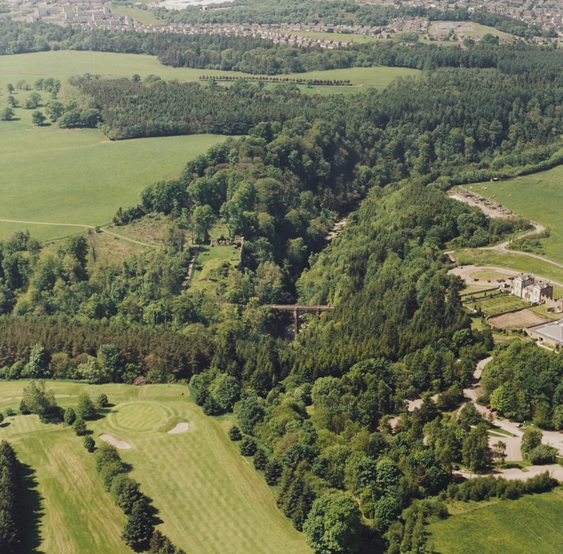 Aerial view of Cadzow Castle, Chatelherault and the Duke's Bridge, taken from the E.