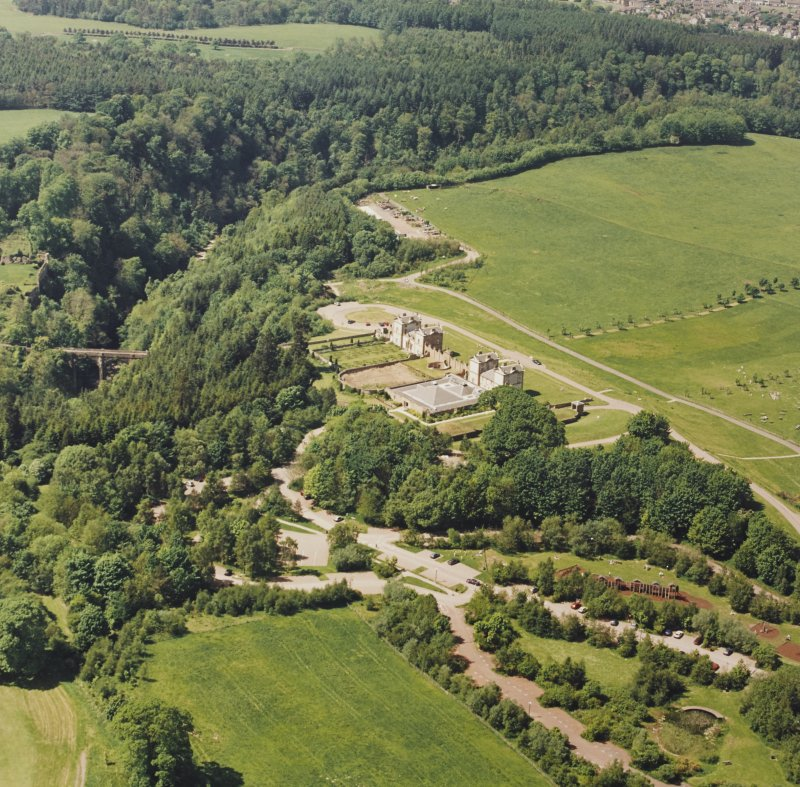 Aerial view of Chatelherault and the Duke's Bridge, taken from the SE.