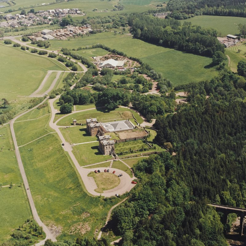 Aerial view of Chatelherault and the Duke's Bridge, taken from the SW.