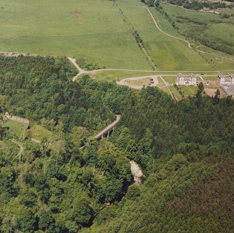 Aerial view of the Duke's Bridge and Cadzow Castle, taken from the SSE.