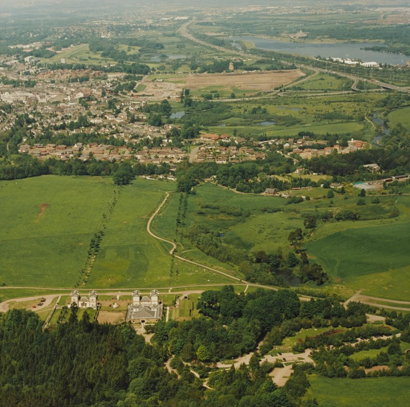 General aerial view of Chatelherault and Hamilton Mausoleum, taken from the SSE.