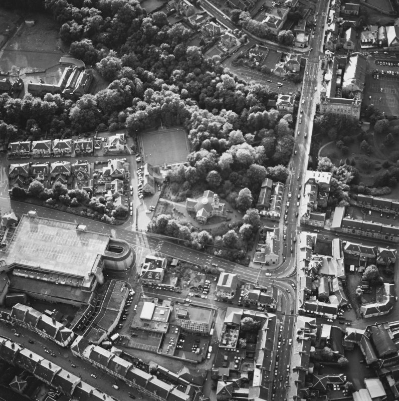 Oblique aerial view of Hamilton centred on Hamilton Parish Church with the halls adjacent, taken from the ESE.