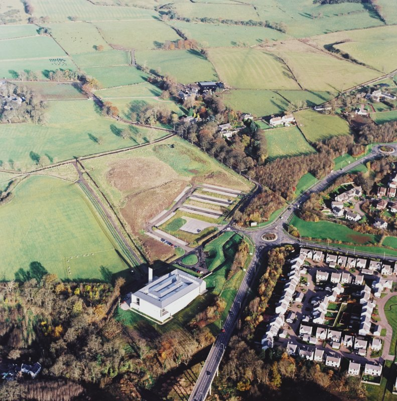 General oblique aerial view centred on the Museum of Scottish Country Life, with the farmsteading adjacent, taken from the SW.