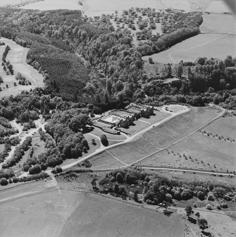 Aerial view of Chatelherault and Cadzow Castle, taken from the NE.