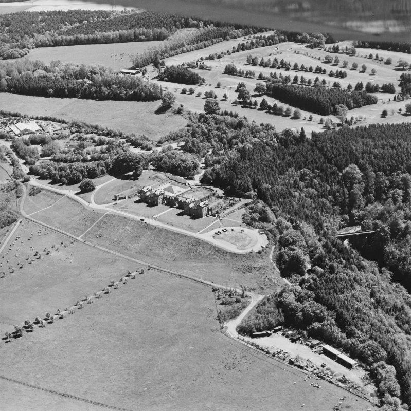 Aerial view of Chatelherault and the Duke's Bridge, taken from the NW.