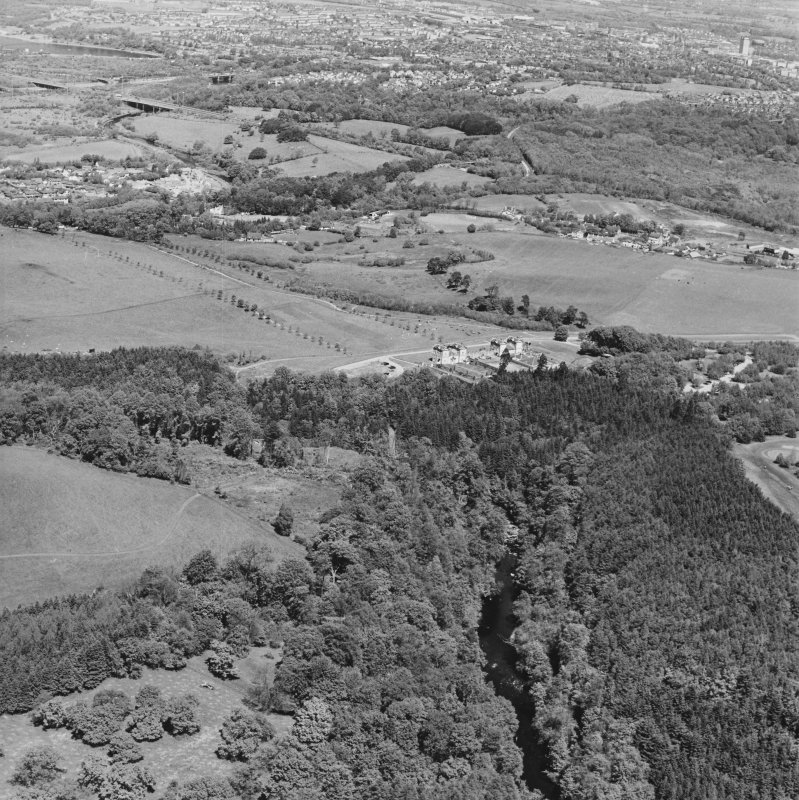 General aerial view of Chatelherault and Cadzow Castle, taken from the SSW.