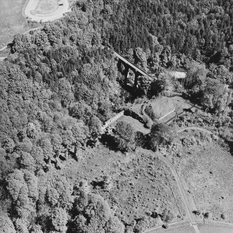 Aerial view of Cadzow Castle and the Duke's Bridge, taken from the SW.