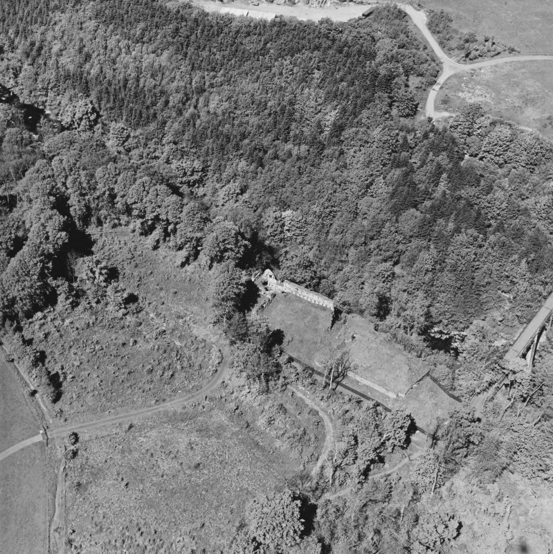 Aerial view of Cadzow Castle and the Duke's Bridge, taken from the SE.