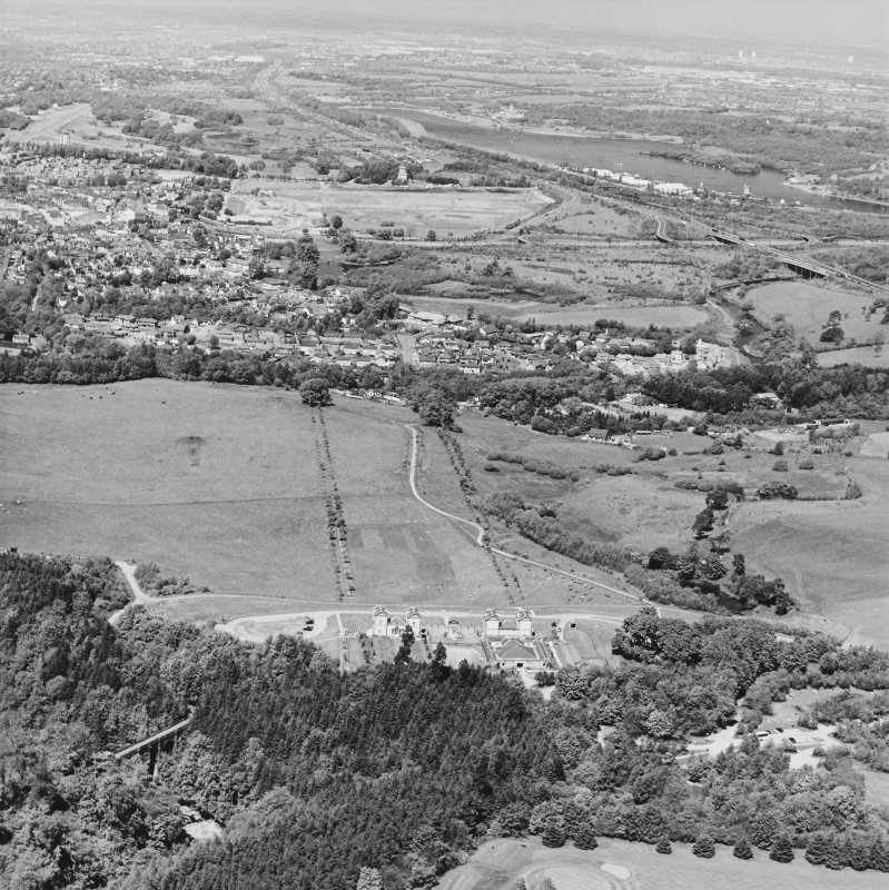 General aerial view of Chatelherault, the Duke's Bridge and Hamilton Mausoleum, taken from the SSE.