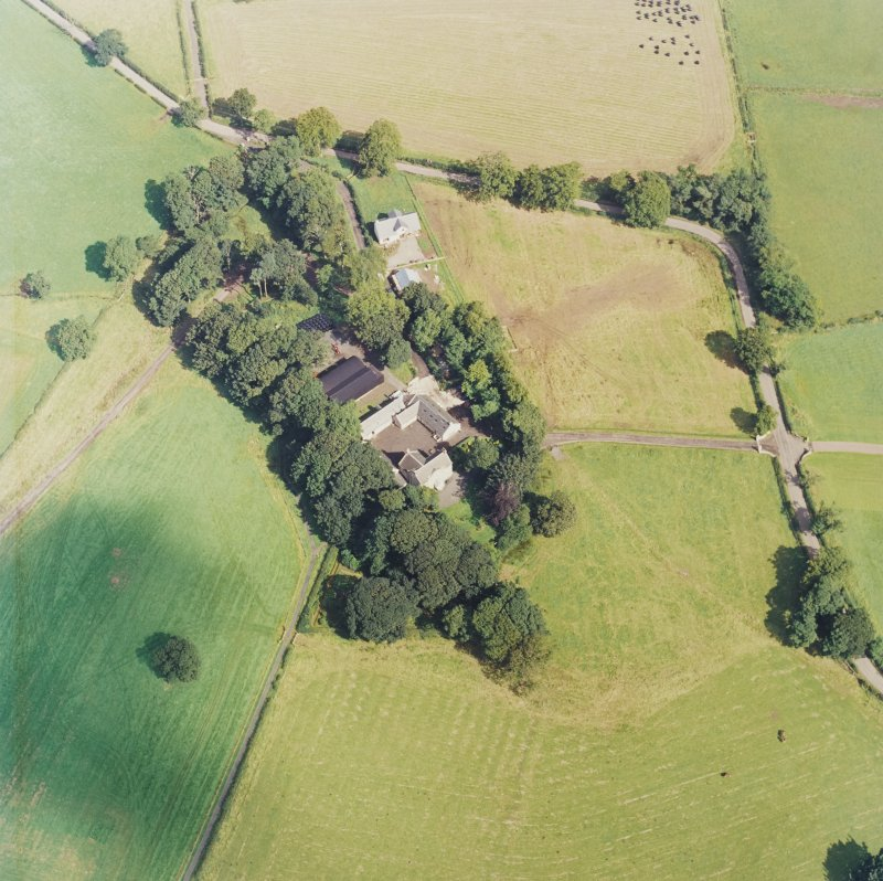 Oblique aerial view centred on the Museum of Scottish Country Life and farmsteading, taken from the SSW.