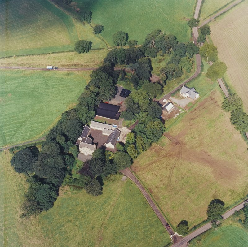 Oblique aerial view centred on the Museum of Scottish Country Life and farmsteading, taken from the SE.