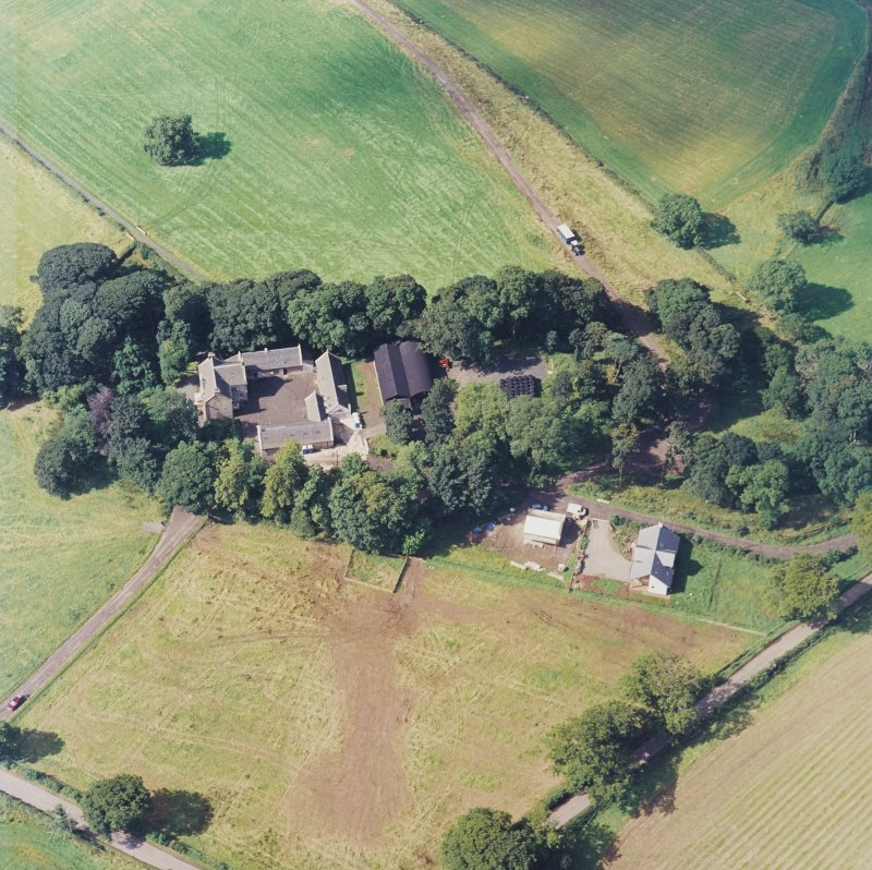 Oblique aerial view centred on the Museum of Scottish Country Life and farmsteading, taken from the ENE.