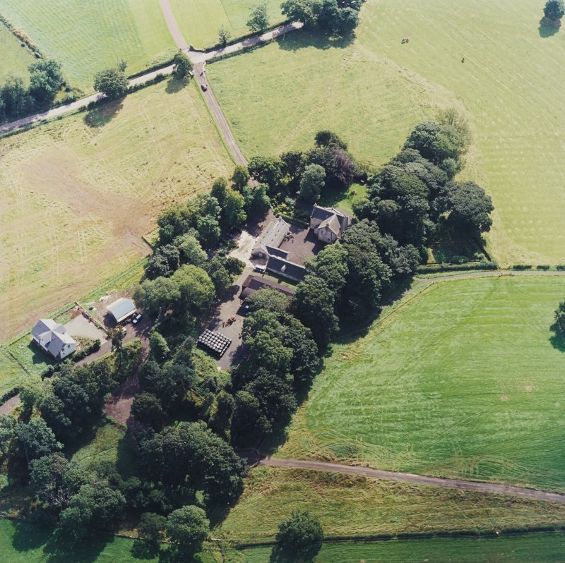 Oblique aerial view centred on the Museum of Scottish Country Life and farmsteading, taken from the NW.