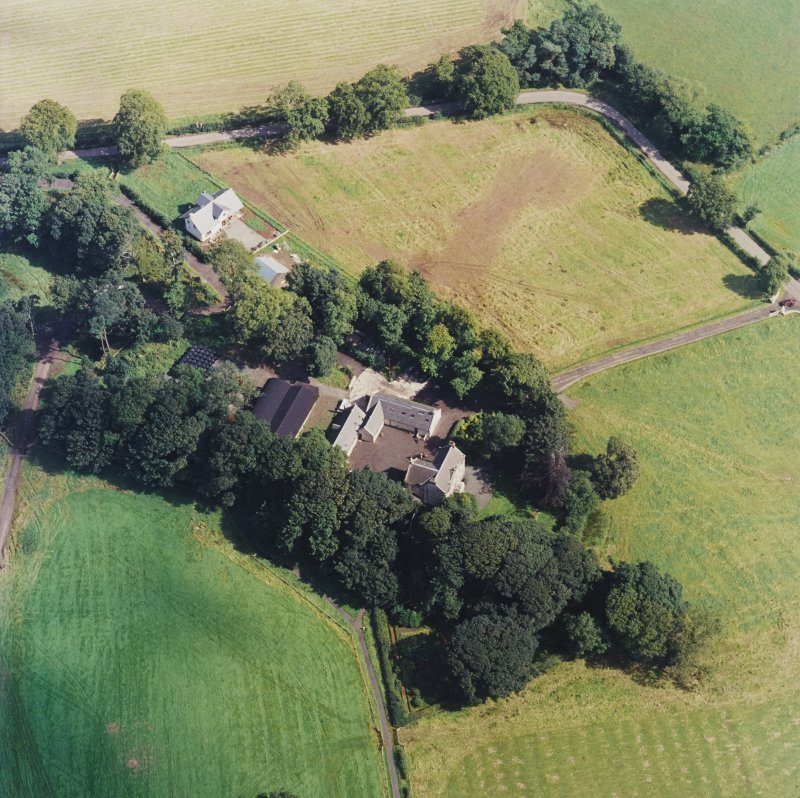 Oblique aerial view centred on the Museum of Scottish Country Life and farmsteading, taken from the SW.