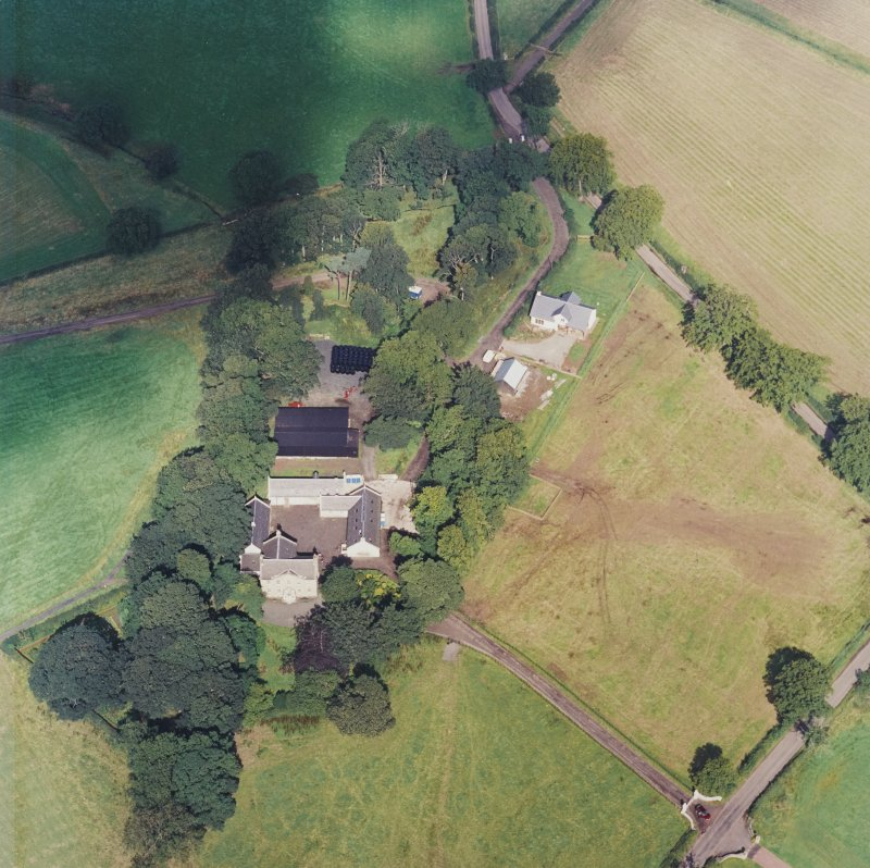Oblique aerial view centred on the Museum of Scottish Country Life and farmsteading, taken from the SSE.