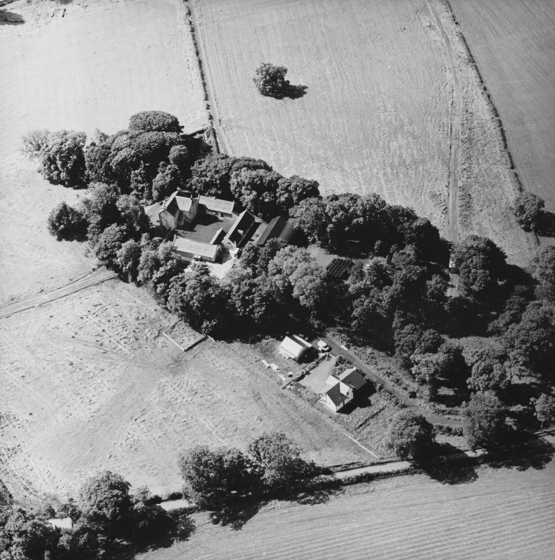 Oblique aerial view centred on the Museum of Scottish Country Life and farmsteading, taken from the NE.