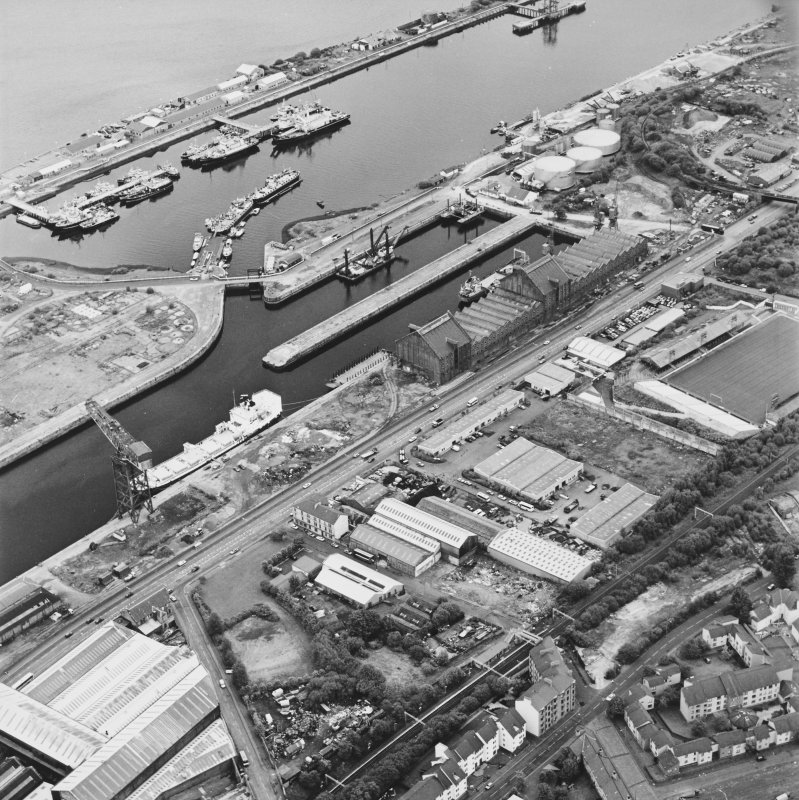 Greenock, James Watt Dock, oblique aerial view, taken from the WSW. Cappielow is visible in the centre right of the photograph.
