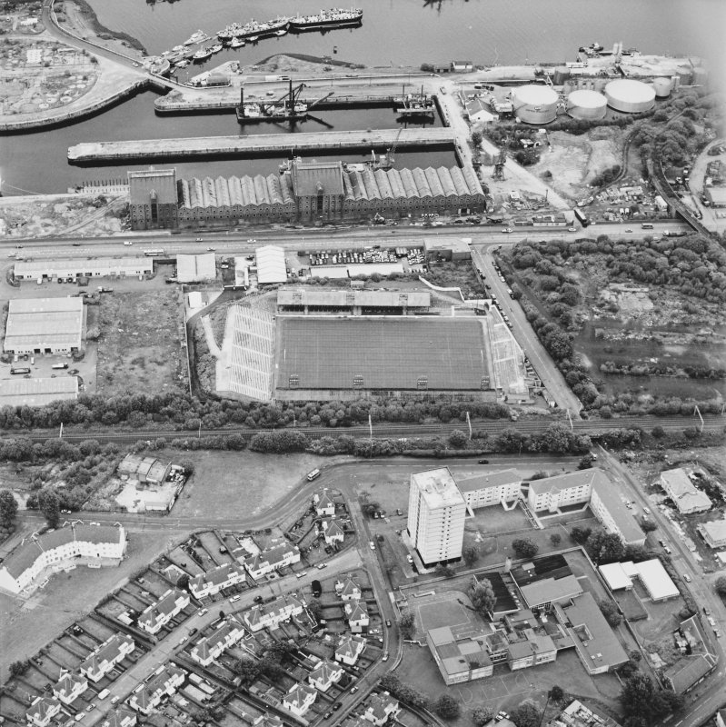 Greenock, James Watt Dock, oblique aerial view, taken from the SSW. Cappielow is visible in the centre of the photograph.