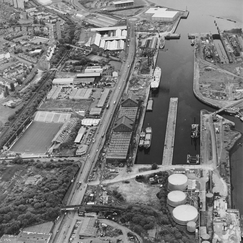 Greenock, James Watt Dock, oblique aerial view, taken from the ESE. Cappielow is visible in the left centre of the photograph.