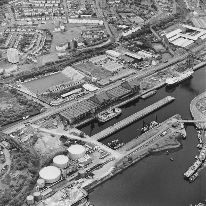 Greenock, James Watt Dock, oblique aerial view, taken from the ENE. Cappielow is visible in the left centre of the photograph.