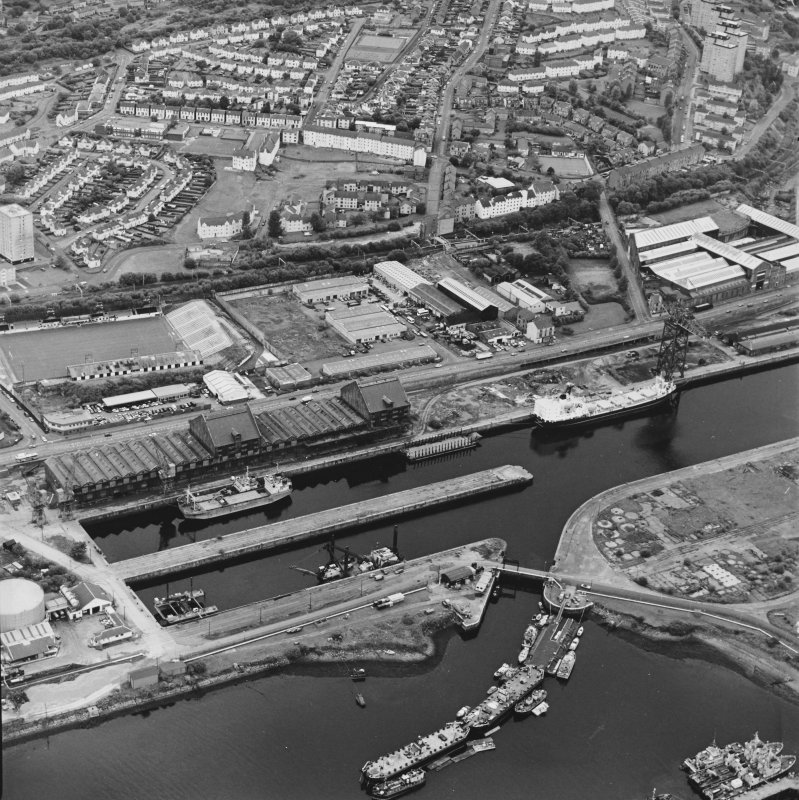 Greenock, James Watt Dock, oblique aerial view, taken from the NE. Cappielow is visible in the left centre of the photograph.