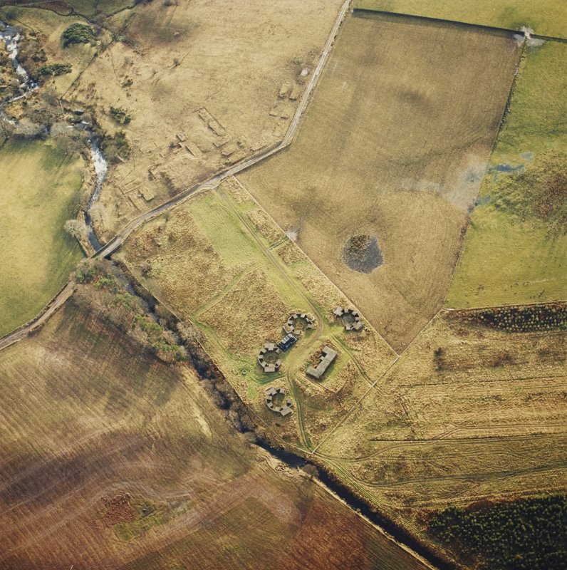 Oblique aerial view of Port Glasgow High Mathernock Battery centred on the remains of an anti-aircraft battery, taken from the N.