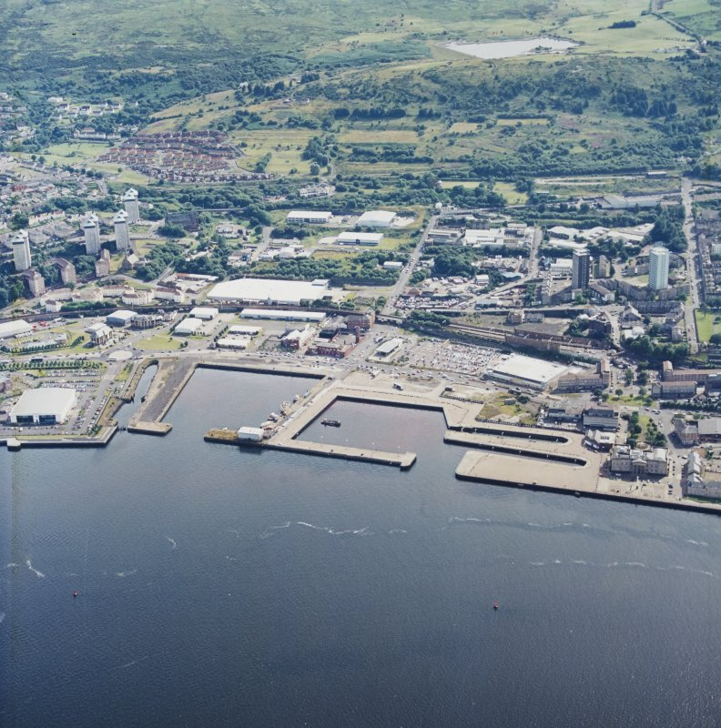 General oblique aerial view looking across the harbours, taken from the NNE.