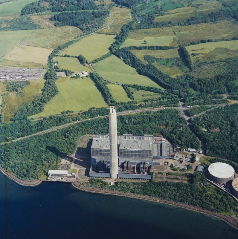 Oblique aerial view centred on the electricity generating station, taken from the NW.